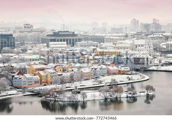 Beautiful winter view of the old town. Minsk. Belarus