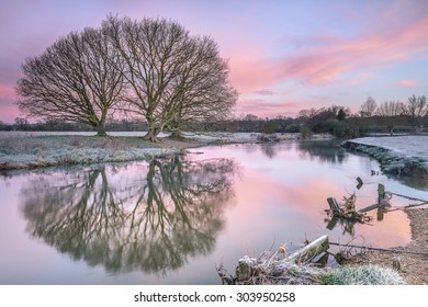 A beautiful winter's sunrise on the banks of the river Stour
