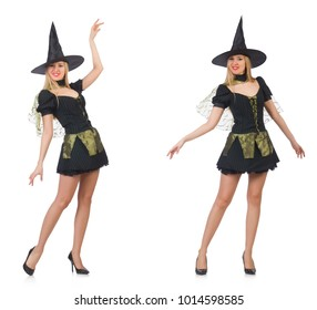 Beautiful witch in black dress isolated on white 808d04a844f1