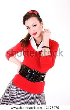 b744a0bad28 Beautiful Woman 1950 S Pin Style Stock Photo (Edit Now) 13195975 ...