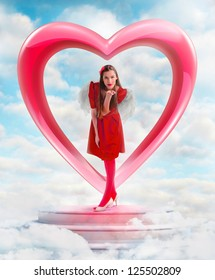 Beautiful woman angel  sending love from the heart shaped gate in sky