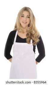 beautiful woman in apron isolated on white