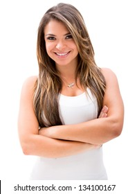 Beautiful woman with arms crossed  - isolated over white