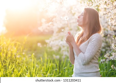 beautiful woman  with arms crossed  stands under a flowering tree on green grass and in the rays of the setting sun