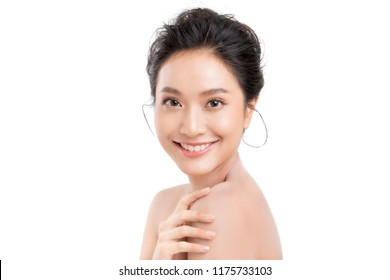 Beautiful woman asian face close up studio