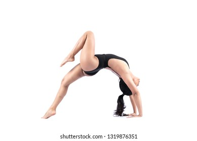Beautiful woman Asian sport girl doing yoga pose on white background , gymnastics performs physical exercises - yoga concept