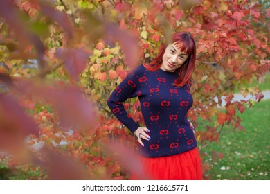Beautiful woman in the autumn park.