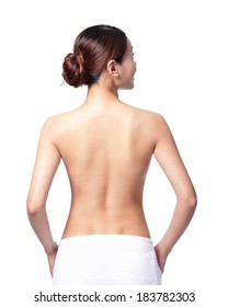 beautiful woman back view, isolated on white background, asian