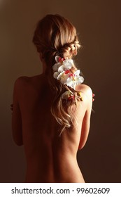 A beautiful woman, back view, isolated on brown  background