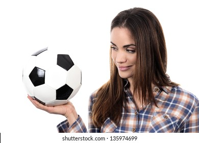 Beautiful woman with ball over white background