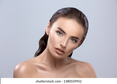 beautiful woman, beauty girl closeup, brunette model face