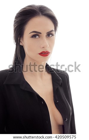 Beautiful Woman Black Dressing Gown On Stock Photo (Royalty Free ...
