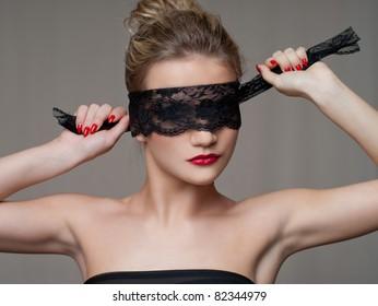 Beautiful Woman in Black Lace