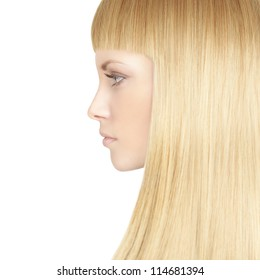 Beautiful woman with blond healthy hair - beauty salon background