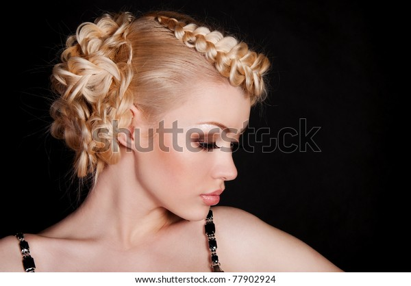 beautiful woman blond with the netting on the hair