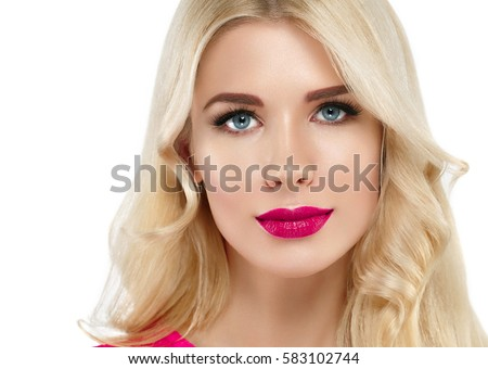 Beautiful woman blonde hair face red lipstick. Makeup lipstick rouge close up concept studio isolated