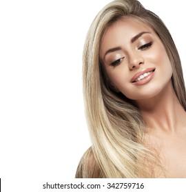 Beautiful woman blonde hair portrait close up studio on white long hair