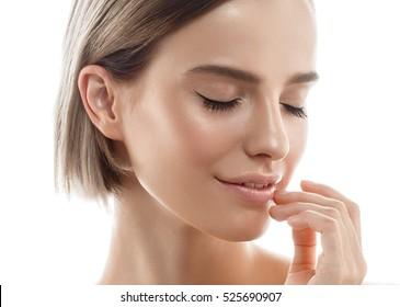 Beautiful Woman Blonde Hair Portrait Beauty Model Face Healthy Skin