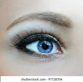 beautiful woman blue eyes macro shoot