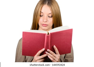 Beautiful woman with a book on white background