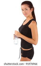 beautiful woman with bottle of water over white