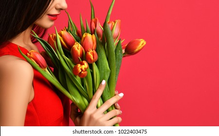 Beautiful woman with bouquet of tulip flowers in red dress. Closeup spring composition on pink background