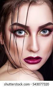 Beautiful woman with bright creative make-up, closeup, portrait, girl