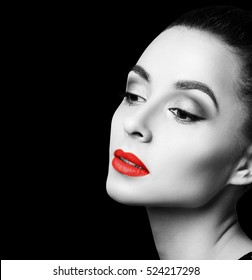 Beautiful woman with bright makeup.