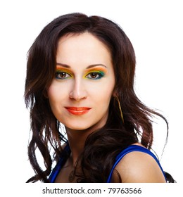 beautiful woman with bright make-up on black background