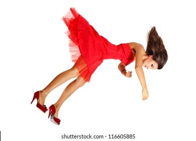 beautiful woman broken doll falling down in red dress isolated on white background