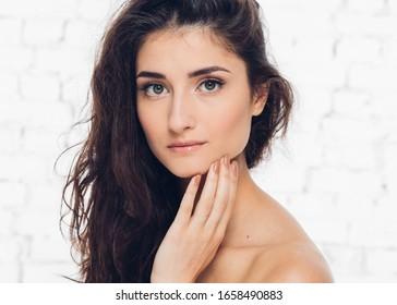 Beautiful woman brunette hair natural casual beauty female portrait