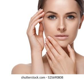 Beautiful Woman Brunette Hair Portrait Beauty Model Face Healthy Skin