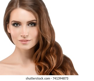 Beautiful Woman Brunette Long Hair Healthy Beauty Skin Smile. Spa Beautiful Model Girl Cute Face over white background.