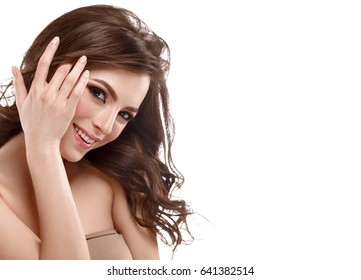Beautiful Woman Brunette Red Lips Healthy Beauty Skin Smile. Spa Beautiful Model Girl Cute Face over white background.
