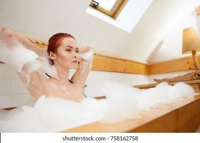 Beautiful woman in a bubble bath