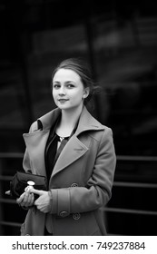 Beautiful woman at a business meeting black and white
