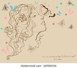 Beautiful woman with butterfly and flowers, Valentine illustration for Holiday design