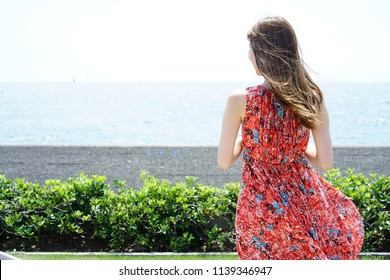 A beautiful woman by the sea in Zushi