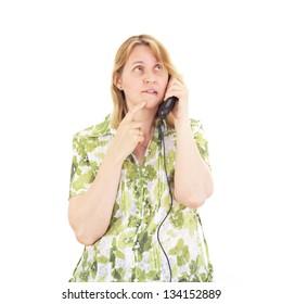 Beautiful woman calling somebody