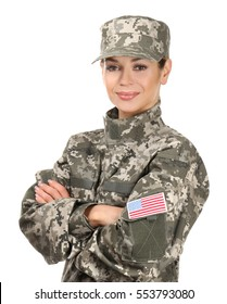 Beautiful woman in camouflage on white background