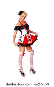 Beautiful woman in a cards carnival costume