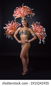 Beautiful woman in a carnival costume with rhinestones and feathers. Attractive female cabaret dancer in carnival costume with red and pink feathers.