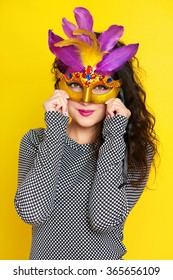 beautiful woman in carnival mask, holiday fashion girl portrait