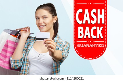 Beautiful woman and Cash Back text