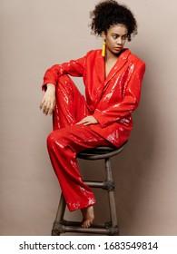 Beautiful woman charm red costume jewelry model earrings