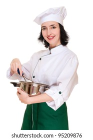 Beautiful woman chef with kitchen utensil isolated on white