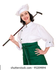 Beautiful woman chef in uniform with golf club isolated on white