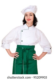 Beautiful woman in chef uniform isolated on white