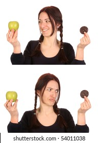 beautiful woman choosing between chocolate cookies and apple on white background