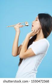 beautiful woman chopsticks diet food snacking japanese food fish